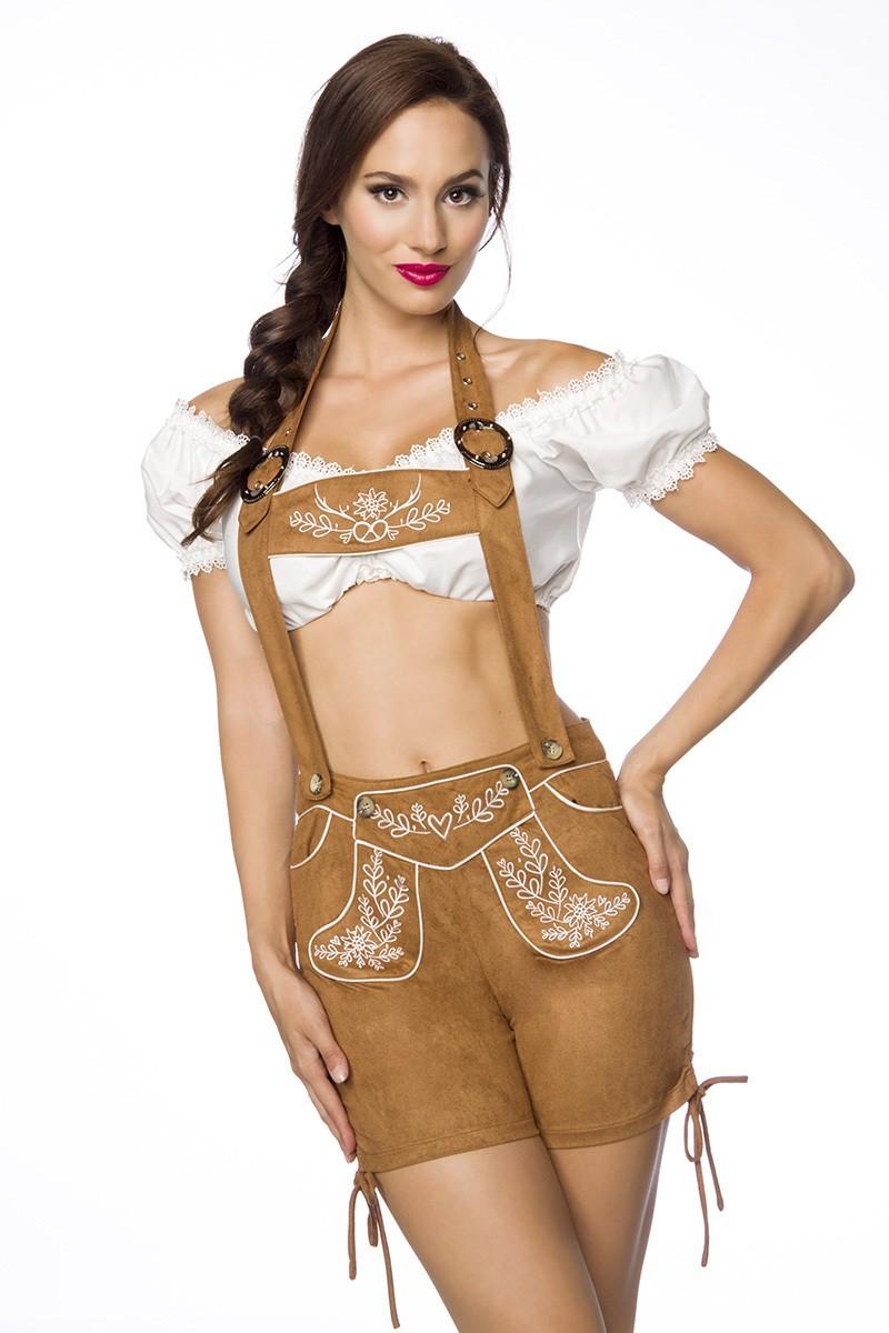 Hosen für Frauen - Trachtenshorts mit Stickereien ° Braun ° Dirndline  - Onlineshop RedSixty