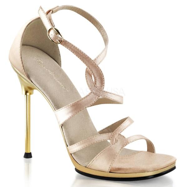 CHIC 46 ° Damen Sandalette ° Elfenbein Satin ° Fabulicious
