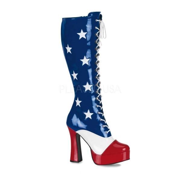 ELECTRA 2030 ° Damen Stiefel ° Blau Weiß Rot Glänzend ° Funtasma