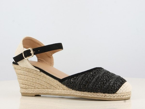 Peachyboo ° Ankle Strap Wedge Sandale ° Schwarz