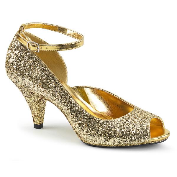 BELLE-381G ° Damen Peep Toe Pumps ° Gold Glitter ° Fabulicious