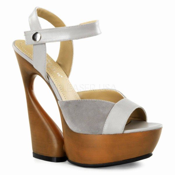SWAN 612 ° Damen Sandalette ° Grau Leder ° Pleaser Day & Night