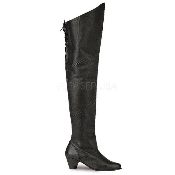 MAIDEN 8828 ° Damen Overknee Stiefel ° Schwarz Leder ° Funtasma