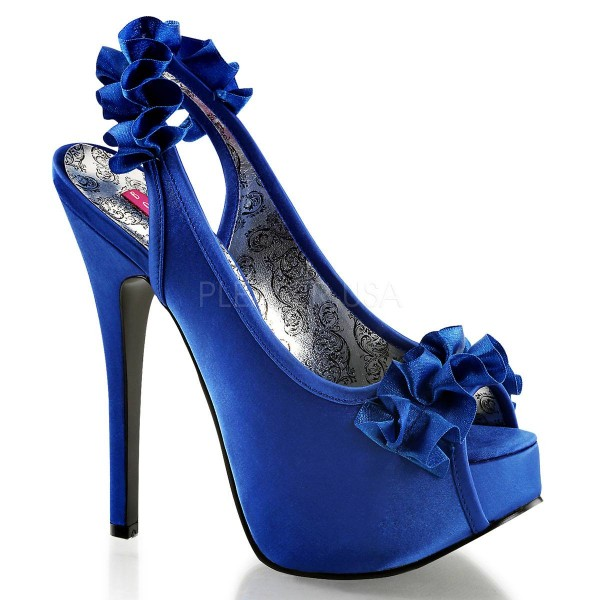 TEEZE 56 ° Damen Peep Toe Sandalette ° Blau Satin ° Bordello