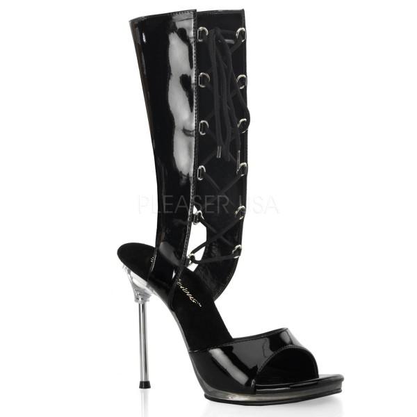 CHIC 65 ° Damen Bootie Sandalette ° Schwarz Glänzend ° Fabulicious