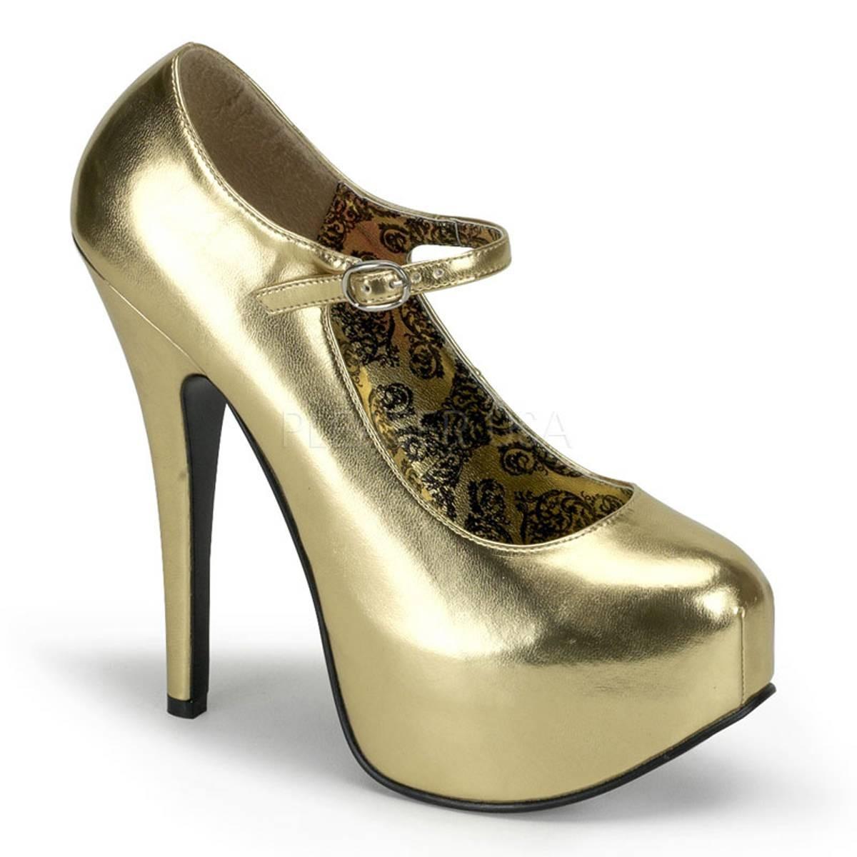 Highheels - TEEZE 07 ° Damen Pumps ° Gold Matt ° Bordello  - Onlineshop RedSixty