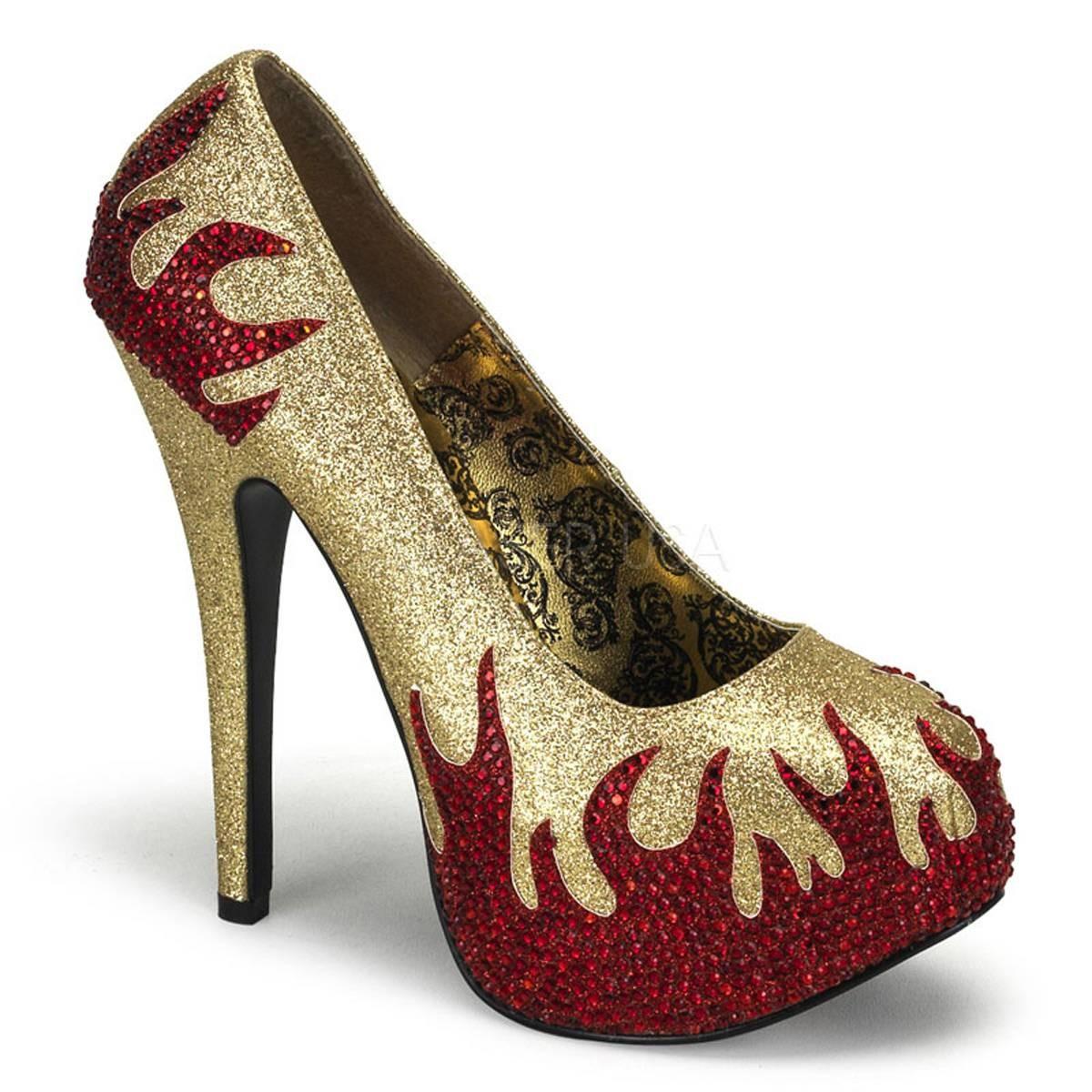 Highheels - TEEZE 27 ° Damen Pumps ° Gold Rot Glänzend ° Bordello  - Onlineshop RedSixty