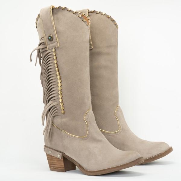 Nemonic ° Boho Wildleder Fransen Boots ° Ante Pebble 2109 ° Lichtgrau ° Gold