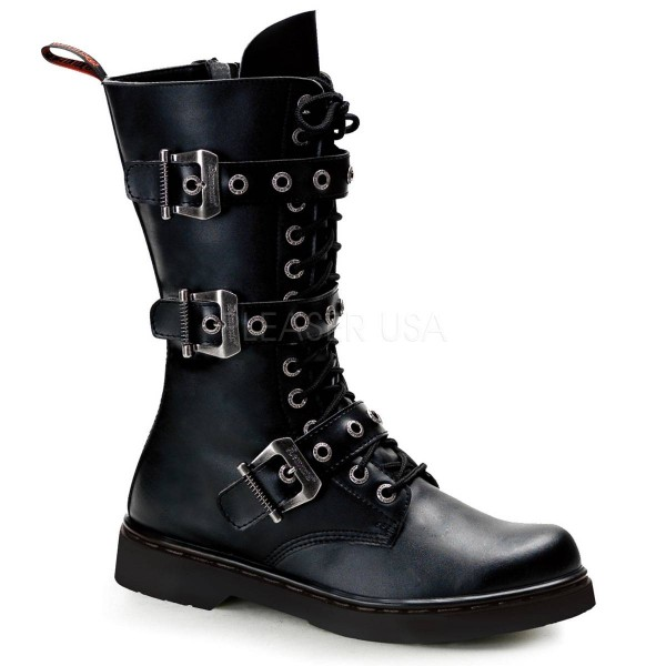 DEFIANT 303 ° Unisex Combat Boots ° Schwarz Matt ° Demonia