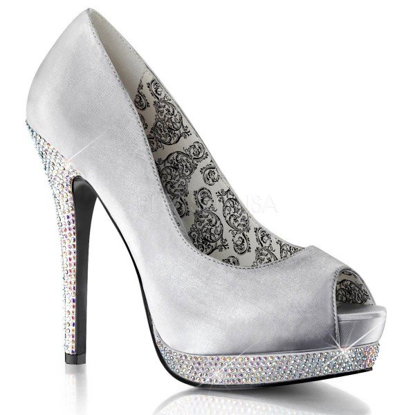 BELLA 12R ° Damen Peep Toe ° Silber Satin ° Bordello