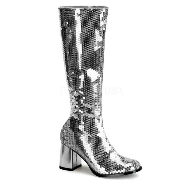 SPECTACUL 300SQ ° Damen Stiefel ° Silber Pailetten ° Bordello
