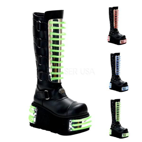 TECHNO 854UV ° Unisex Cyber Boots ° Schwarz Grün Matt ° Demonia