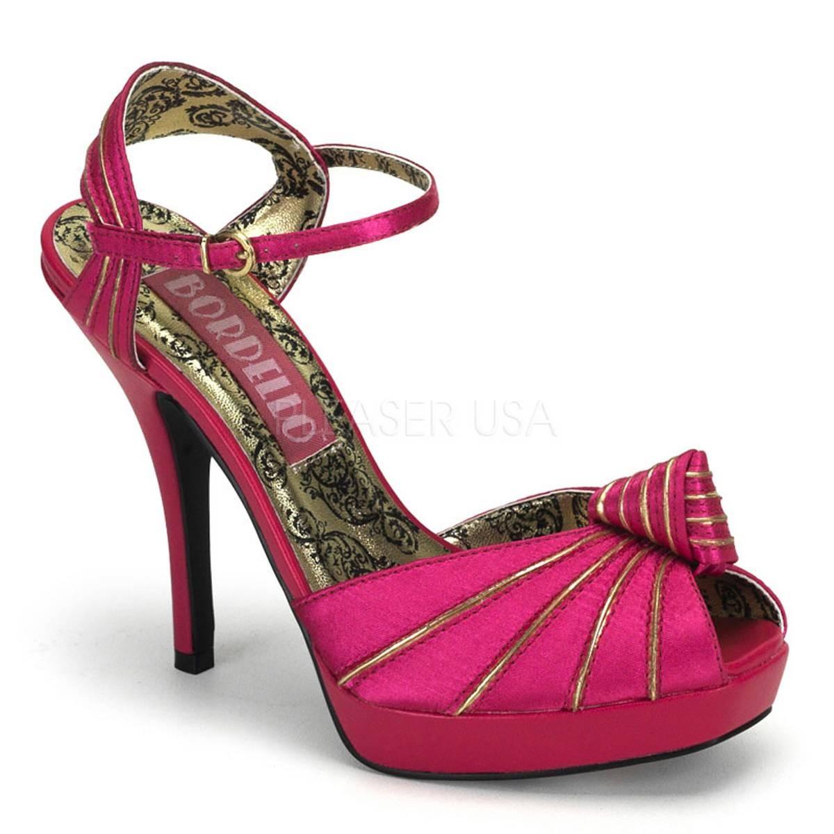 Highheels für Frauen - PREEN 16 ° Damen Peep Toe Sandalette ° Pink Gold Satin ° Bordello  - Onlineshop RedSixty