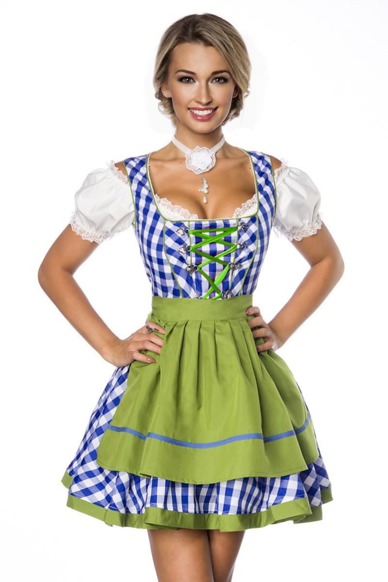 Kleider - Traditionelles Minidirndl ° Blau Grün Weiß ° Dirndline  - Onlineshop RedSixty