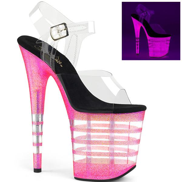 FLAMINGO-808UVLN ° Plateau Exotic Dancing Damen Sandale ° Transparent ° Neon Bubble Gum Pink Glitter