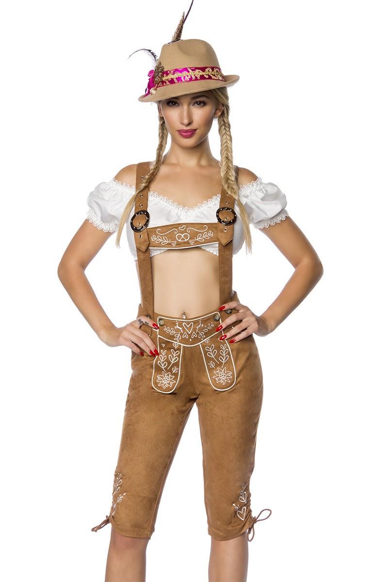 Hosen für Frauen - Trachtenhose mit Stickereien ° Braun ° Dirndline  - Onlineshop RedSixty