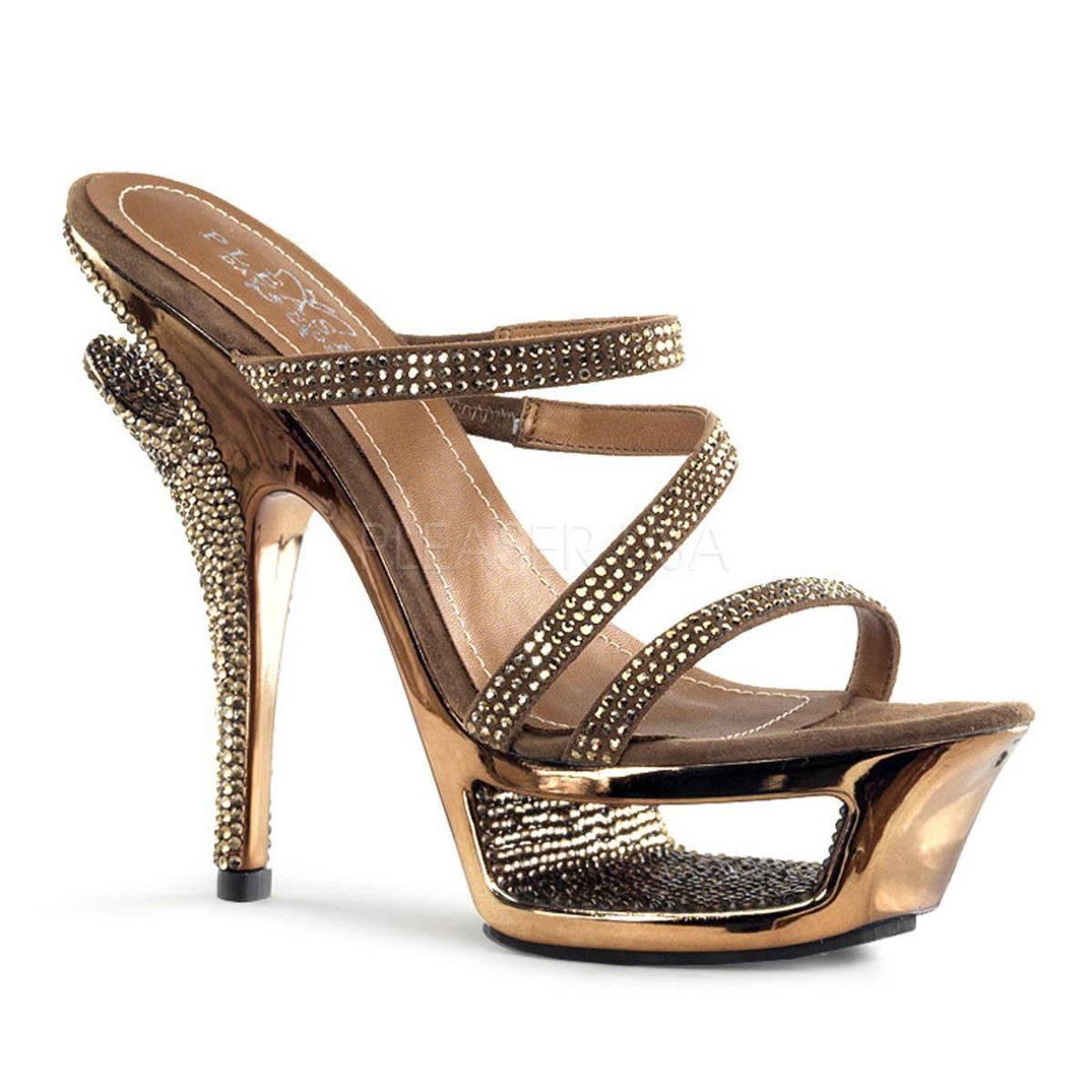 Highheels für Frauen - DELUXE 603 ° Damen Sandalette ° Bronze Leder ° Pleaser Day Night  - Onlineshop RedSixty