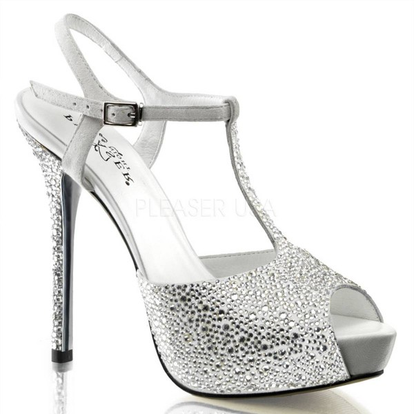 PRESTIGE 10 ° Damen Peep Toe Sandalette ° Weiß Silber Leder ° Pleaser Day & Night