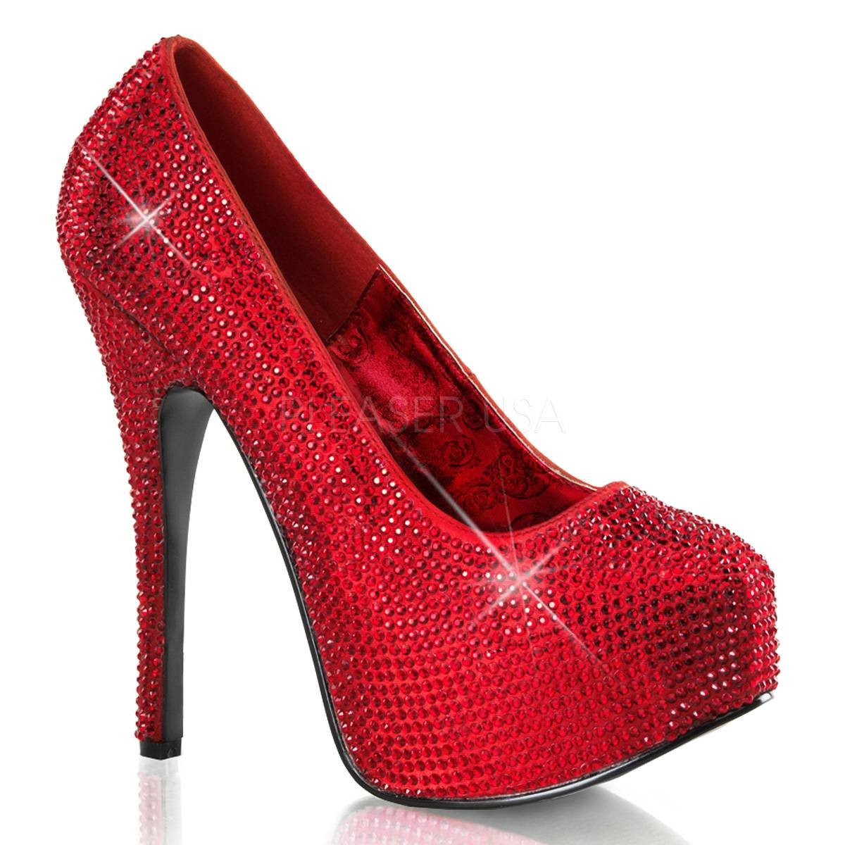 Highheels - TEEZE 06R ° Damen Pumps ° Rot Satin ° Bordello  - Onlineshop RedSixty