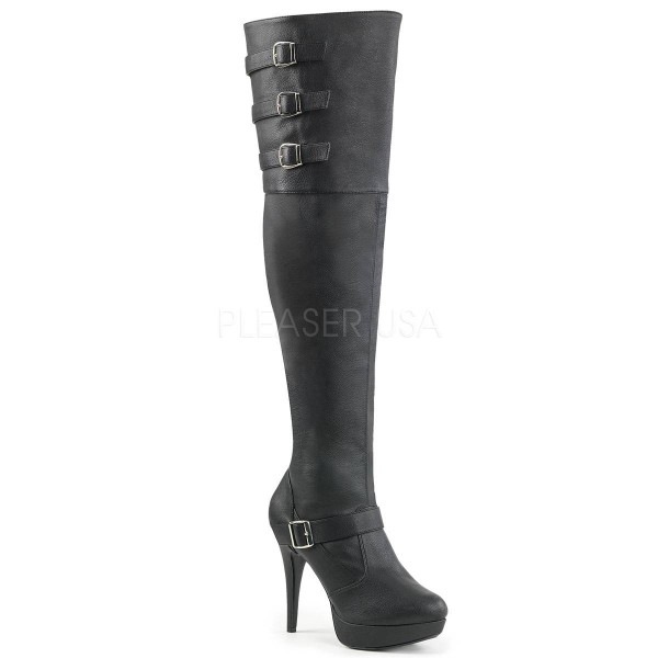 CHLOE 308 ° Damen Overknee Stiefel ° SchwarzMatt ° Pleaser Pink Label
