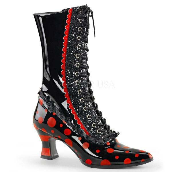 VICTORIAN 122 ° Damen Stiefel ° Schwarz Rot Glänzend ° Funtasma