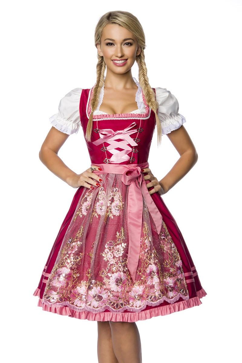 Kleider - Premium Dirndl mit Stickereien ° Rosa Rot ° Dirndline  - Onlineshop RedSixty