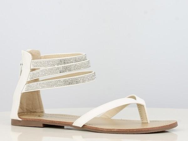 Peachyboo ° Ankle Strap Sandale mit Brilliantriemen ° Weiß