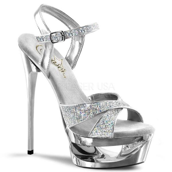 ECLIPSE 619G ° Damen Sandalette ° Silber Glitter ° Pleaser