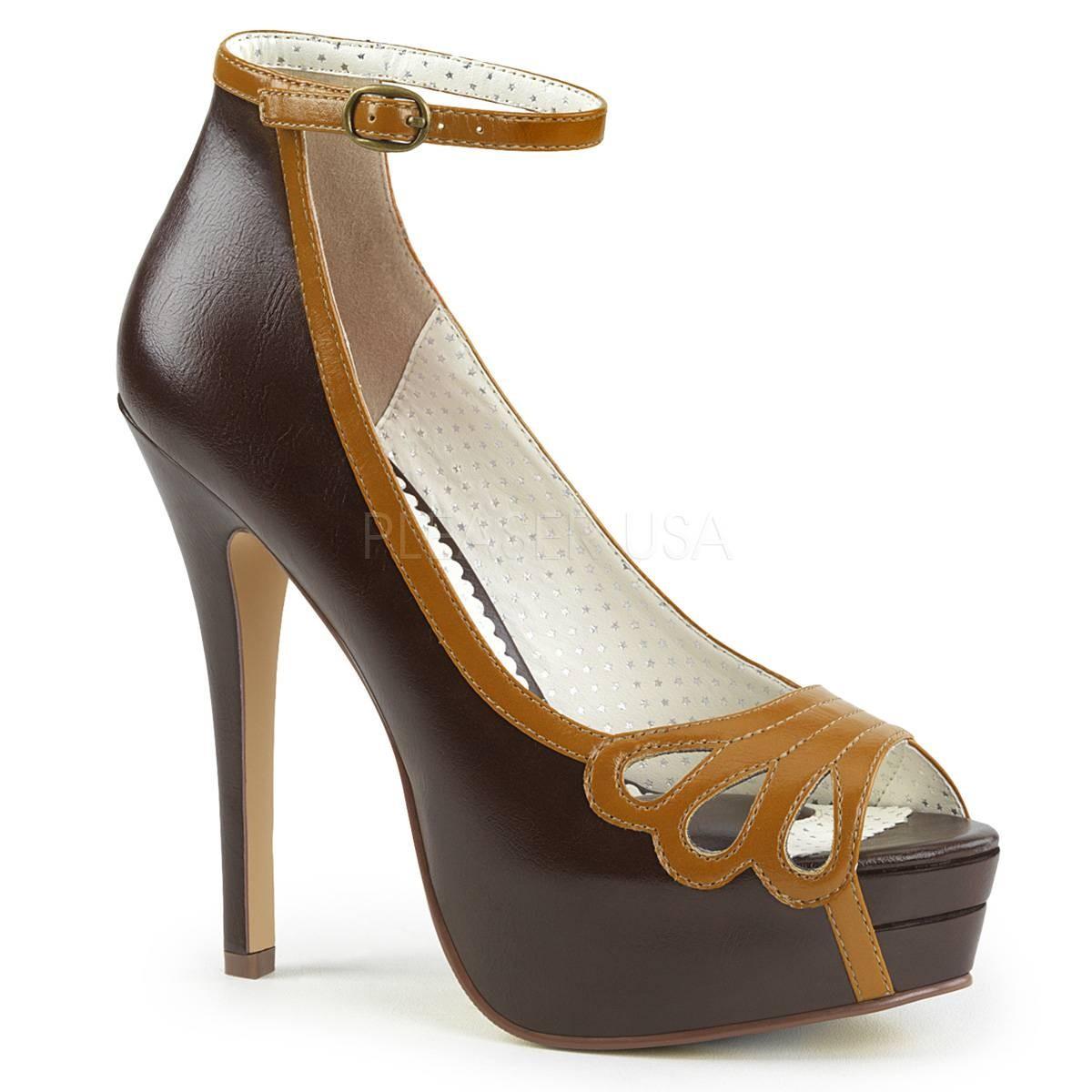 Highheels - BELLA 31 ° Damen Peep Toe ° DunkelbraunMatt ° Pin Up Couture  - Onlineshop RedSixty