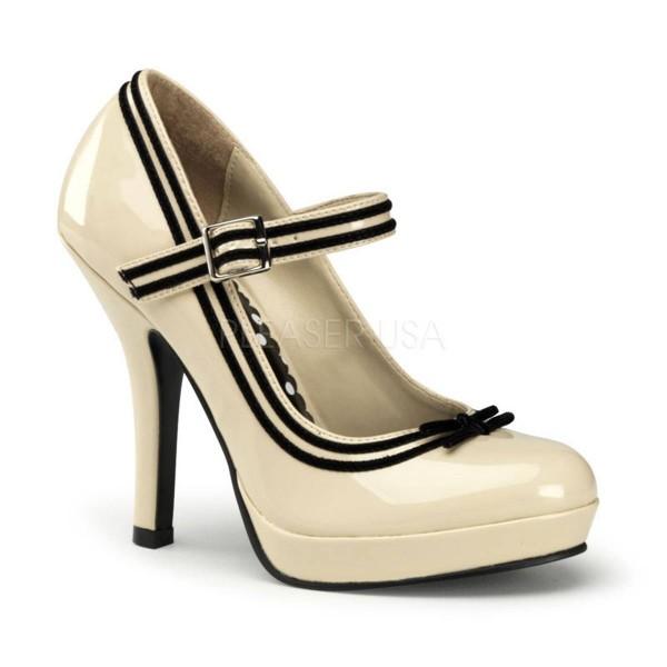 SECRET 15 ° Damen Pumps ° Beige Schwarz Glänzend ° Pin Up Couture