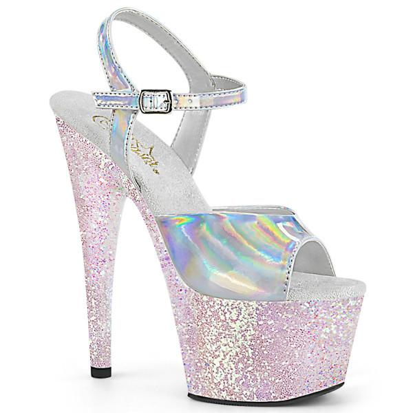 ADORE-709HGG ° Plateau Exotic Dancing Damen Sandale ° Silber holografisch ° Opal Glitter mehrfarbig