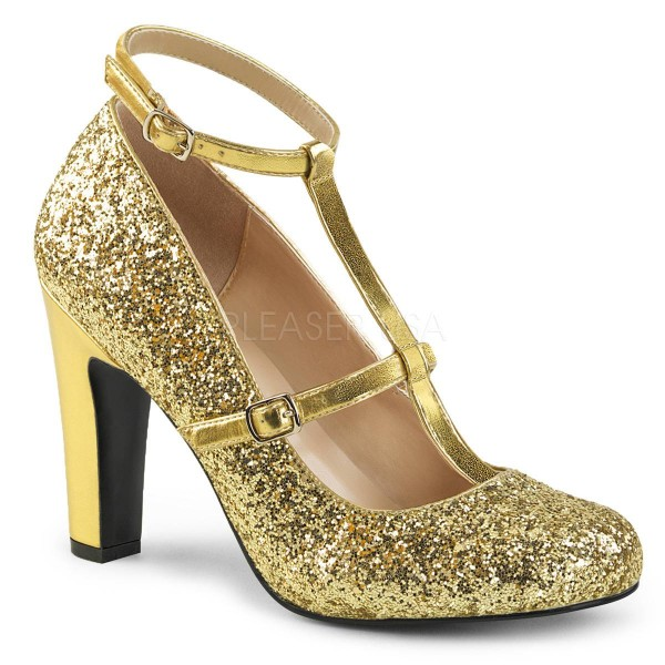 QUEEN 01 ° Damen Pumps ° GoldGlitter ° Pleaser Pink Label