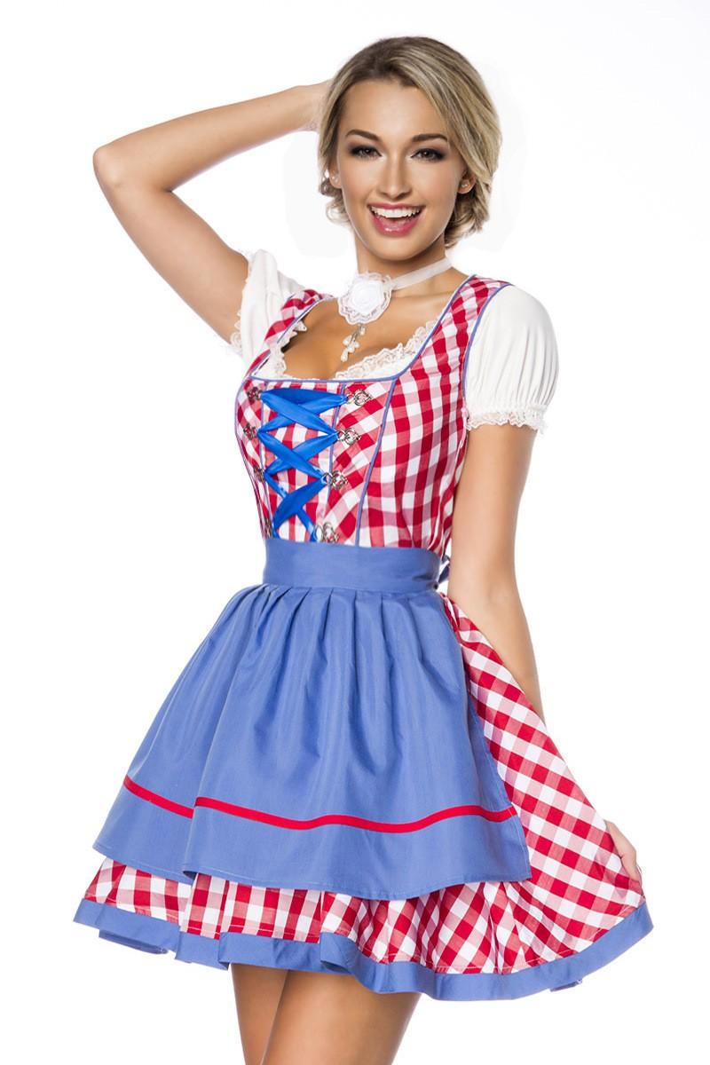 Kleider - Traditionelles Minidirndl ° Rot Blau Weiß ° Dirndline  - Onlineshop RedSixty