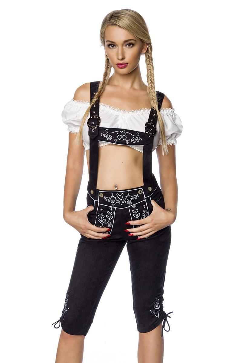 Hosen für Frauen - Trachtenhose mit Stickereien ° Schwarz ° Dirndline  - Onlineshop RedSixty