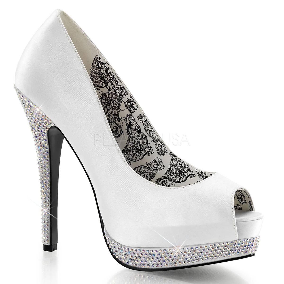 Highheels für Frauen - BELLA 12R ° Damen Peep Toe ° Weiß Satin ° Bordello  - Onlineshop RedSixty