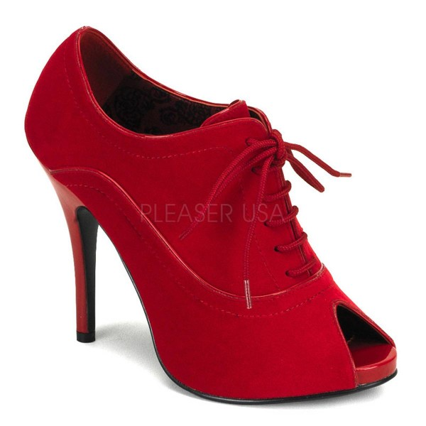 WINK 01 ° Damen Peep Toe ° Rot Samt ° Bordello