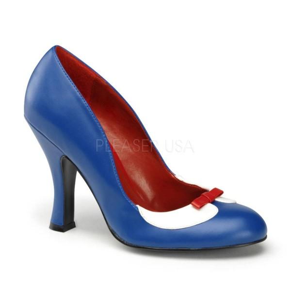 SMITTEN 05 ° Damen Pumps ° Blau Weiß Matt ° Pin Up Couture
