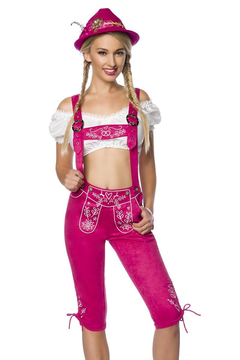 Hosen - Trachtenhose mit Stickereien ° Pink ° Dirndline  - Onlineshop RedSixty