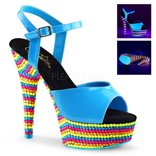 DELIGHT 609RBS ° Damen Sandalette ° Blau Glänzend ° Pleaser