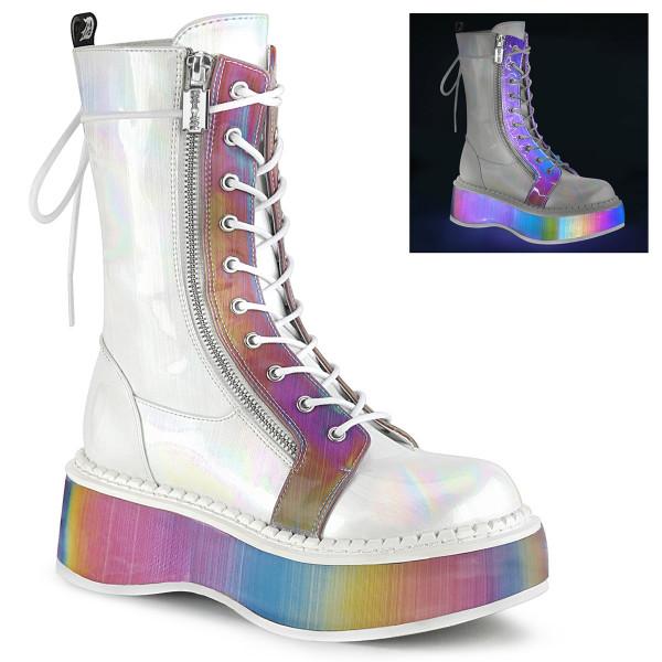 EMILY-350 ° Damen Stiefel ° Weiß holografisch ° Rainbow ° Demonia