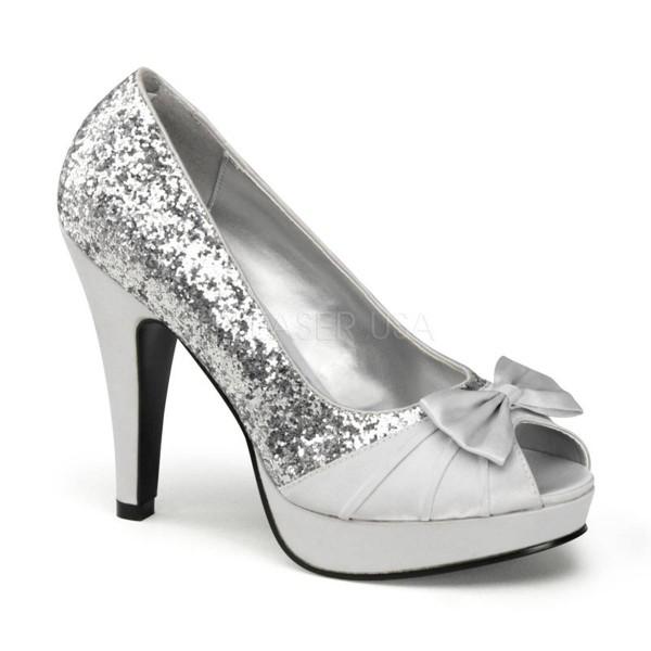 BETTIE 10 ° Damen Peep Toe ° Silber Glitter ° Pin Up Couture