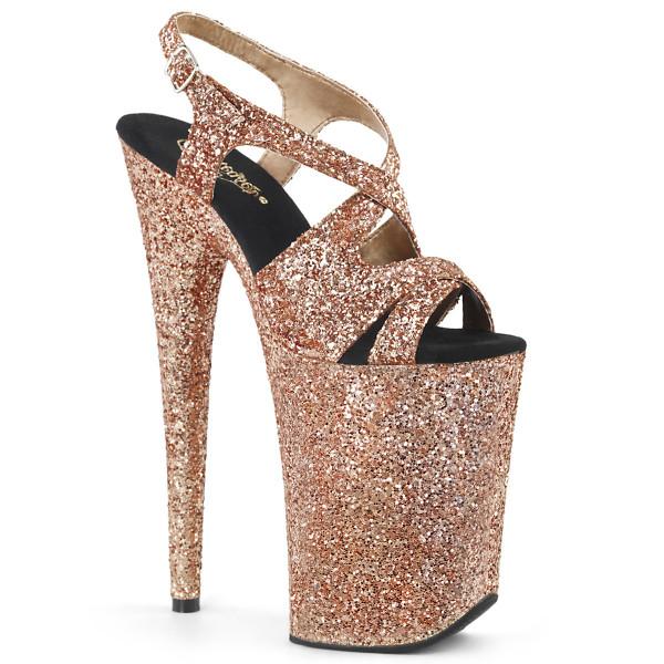 INFINITY-930LG ° Plateau Exotic Dancing Damen Sandale ° Roségold ° Glitter ° Pleaser