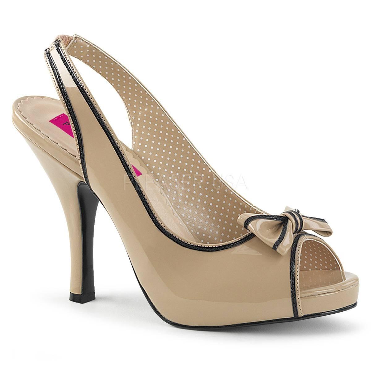 Sandalen - PINUP 10 ° Damen Peep Toe Sandalette ° BeigeGlänzend ° Pleaser Pink Label  - Onlineshop RedSixty