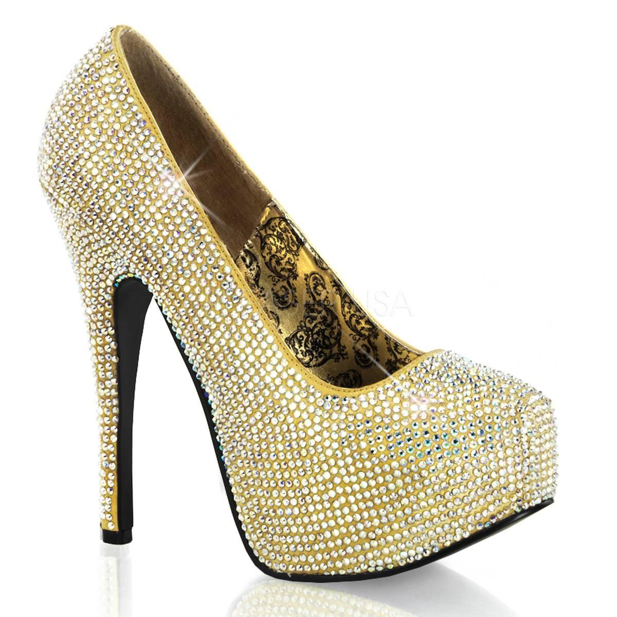 Highheels - TEEZE 06R ° Damen Pumps ° Gold Satin ° Bordello  - Onlineshop RedSixty