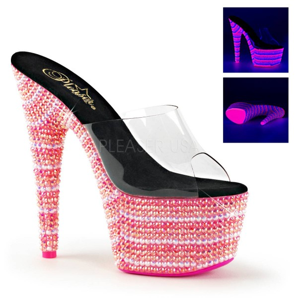 BEJEWELED 701UV ° Damen Sandalette ° Transparent Matt ° Pleaser