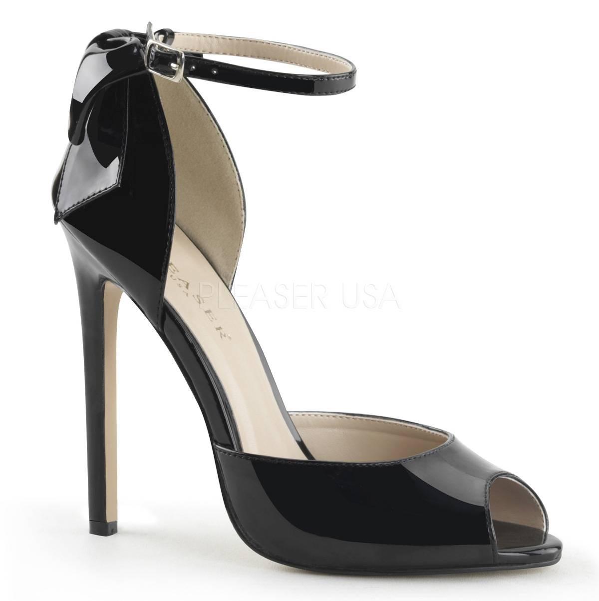 Highheels für Frauen - SEXY 16 ° Damen Peep Toe Sandalette ° Schwarz Glänzend ° Pleaser  - Onlineshop RedSixty