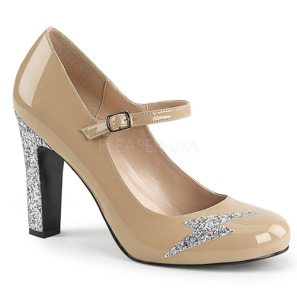 QUEEN 02 ° Damen Pumps ° BeigeGlänzend ° Pleaser Pink Label