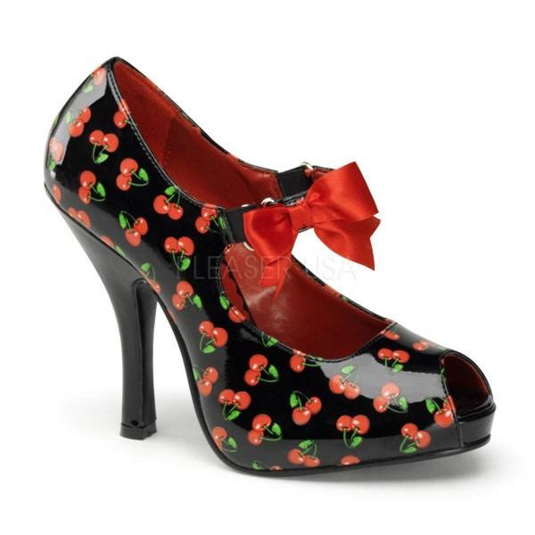 CUTIEPIE 07 ° Damen Peep Toe ° Schwarz Rot Glänzend ° Pin Up Couture
