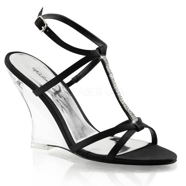 LOVELY 428 ° Damen Sandalette ° Schwarz Satin ° Fabulicious