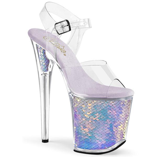 FLAMINGO-808MC ° Plateau Exotic Dancing Damen Sandale ° Transparent ° Lavendel holografisch ° Please